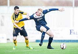 Livingston Calum Fordyce and Falkirk's Mark Beck.<br /> Falkirk 1 v 1 Livingston, Scottish Championship game today at The Falkirk Stadium.<br /> © Michael Schofield.