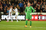 Kasper Schmeichel, the Leicester city goalkeeper looks up as Swansea city players celebrate their 1st goal. Barclays Premier league match, Swansea city v Leicester city at the Liberty stadium in Swansea, South Wales on Saturday 25th October 2014<br /> pic by Andrew Orchard, Andrew Orchard sports photography.