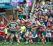 Aviva Premiership Rugby.<br /> Steve Mafi of Leicester Tigers wins a line out during the Leicester Tigers and Gloucester Rugby playing in Aviva Premiership Rugby in round 20 at Welford Road, Leicester, England on 16 April 2011. Photo Michael Paler/ Photosport.co.nz