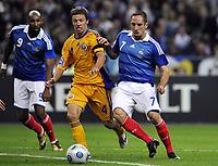 Fotball<br /> Frankrike<br /> Foto: DPPI/Digitalsport<br /> NORWAY ONLY<br /> <br /> FOOTBALL - FIFA WORLD CUP 2010 - QUALIFYING ROUND - GROUP 7 - FRANKRIKE v ROMANIA  - 5/09/2009<br /> <br /> FRANCK RIBERY (FRA) / IULIAN APOSTOL (ROM)