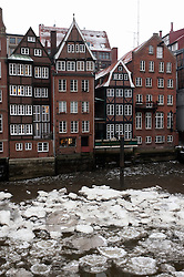 Frozen canals during winter in Nikolaifleet district in Hamburg Germany