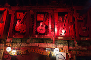 Iconic rock and roll and blues memorabilia in club in Beale Street famous for Rock and Roll and Blues, Memphis