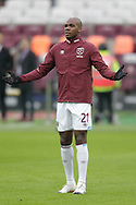 West Ham United defender Angelo Ogbonna (21) warming up before the The FA Cup 3rd round match between West Ham United and Birmingham City at the London Stadium, London, England on 5 January 2019.