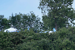 © Licensed to London News Pictures. 07/06/2020. LONDON, UK.  A forensics team next to tents at Fryent Country Park in Wembley.  According to reports, two women were found unresponsive and were pronounced dead at the scene.  Photo credit: Stephen Chung/LNP