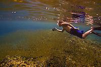 Snorkeling with manahak school (baby rabbitfish) in May 2013. Guam, Gun Beach, rabbitfish, fish, coral reef, snorkel