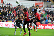 Man Utd's Rio Ferdinand (5) gets in a header just wide of goal. Barclays Premier league, Swansea city v Manchester Utd in Swansea, South Wales on Saturday 17th August 2013. pic by Andrew Orchard ,Andrew Orchard sports photography,