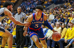Jan 19, 2019; Morgantown, WV, USA; Kansas Jayhawks guard Quentin Grimes (5) dribbles baseline during the first half against the West Virginia Mountaineers at WVU Coliseum. Mandatory Credit: Ben Queen-USA TODAY Sports