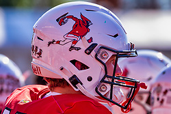 NORMAL, IL - October 16:  Throwback helmet design used for Homecoming game during a college football game between the NDSU (North Dakota State) Bison and the ISU (Illinois State University) Redbirds on October 16 2021 at Hancock Stadium in Normal, IL. (Photo by Alan Look)