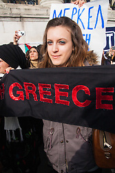 London, February 15th 2015. Londoners demonstrate in solidarity with Greeks in their fight against the EU's insistance that they maintain their programme of austerity.