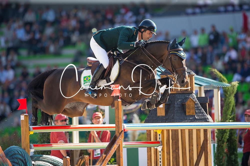 Rodrigo Pessoa, (BRA), Status - First Round Team Competition Jumping Speed - Alltech FEI World Equestrian Games™ 2014 - Normandy, France.<br /> © Hippo Foto Team - Leanjo De Koster<br /> 03-09-14