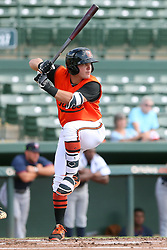 July 17, 2018 - Sarasota, FL, U.S. - Sarasota, FL - JUL 17: John Ham (6) of the Orioles at bat during the Gulf Coast League (GCL) game between the GCL Twins and the GCL Orioles on July 17, 2018, at Ed Smith Stadium in Sarasota, FL. (Photo by Cliff Welch/Icon Sportswire) (Credit Image: © Cliff Welch/Icon SMI via ZUMA Press)