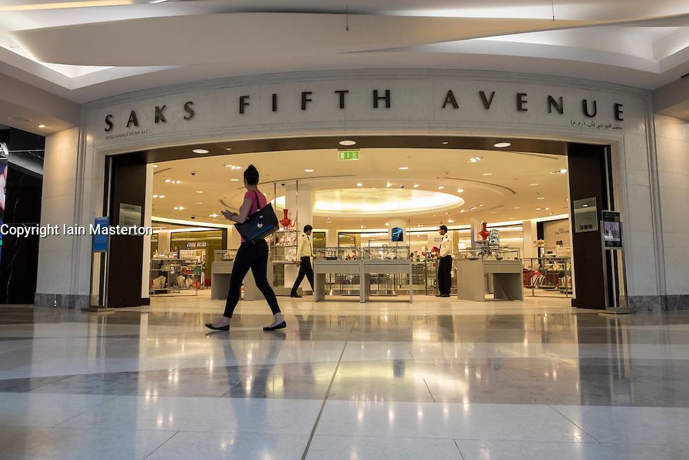 Saks Fifth Avenue store inside Burjuman shopping mall in Dubai United Arab Emirates