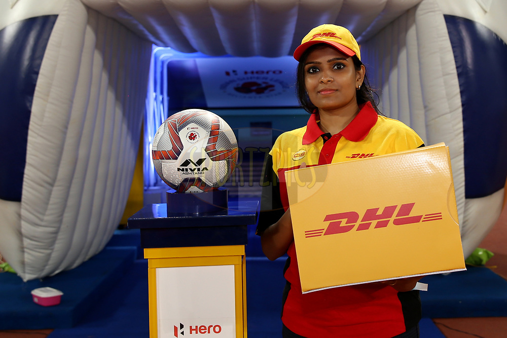 DHL delivers the match ball during match 27 of the Hero Indian Super League 2018 ( ISL ) between Chennaiyin FC  and Mumbai City FC  held at the Jawaharlal Nehru Stadium, Chennai, India on the 3rd November 2018<br /> <br /> Photo by: Faheem Hussain /SPORTZPICS for ISL