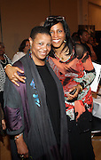 l to r: Terrie Williams and lyassah Shabazz(daughter of Dr. Betty Shabazz and Malcom X) at The 84th Birthday Celebration for Malcolm X and the Memorializing and Marking, for the First Time, the Location in Audubon Ballroom Where He Was Martyred in 1965.