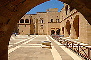 Inner courtyard of the 14th century medieval palace of the Grand Master of the Kinights of St John, Rhodes, Greece. UNESCO World Heritage Site .<br /> <br /> Visit our GREEK HISTORIC PLACES PHOTO COLLECTIONS for more photos to download or buy as wall art prints https://funkystock.photoshelter.com/gallery-collection/Pictures-Images-of-Greece-Photos-of-Greek-Historic-Landmark-Sites/C0000w6e8OkknEb8