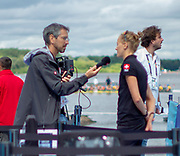 Glasgow, Scotland, Friday, 3rd  August 2018, Swiss interview,  going on in the, Mixed Zone, European Games, Rowing, Strathclyde Park, North Lanarkshire, © Peter SPURRIER/Alamy Live News