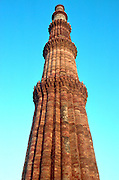 INDIA, CITIES Delhi; the Qutb Minar minaret; the 7th  wonder of Hindustan with a 234' tower begun in 1199 and finished in the 14thC