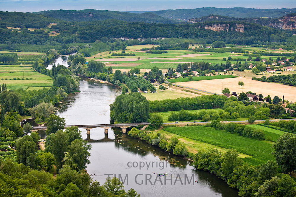 Picturesque scene of the River Dordogne viewed from on high at Domme, Dordogne, France