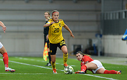 October 9, 2018 - Biel, SWITZERLAND - Belgium's Julie Biesmans and Switzerland's forward Ramona Bachmann pictured in action during a soccer game between Switzerland and Belgium's national team the Red Flames, Tuesday 09 October 2018, in Biel, Switzerland, the return leg of the play-offs qualification games for the women's 2019 World Cup. BELGA PHOTO DAVID CATRY (Credit Image: © David Catry/Belga via ZUMA Press)