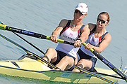 Munich, GERMANY,   Friday morning heats, GBR W2-. Bow Helen GLOVER and Heather STANNING.   2012 FISA World Cup on the Munich Olympic Rowing Course,  Friday  15/06/2012. [Mandatory Credit Peter Spurrier/ Intersport Images]