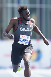 August 12, 2018 - Toronto, ON, U.S. - TORONTO, ON - AUGUST 12: Jerome Blake (Canada), 200m final at the 2018 North America, Central America, and Caribbean Athletics Association (NACAC) Track and Field Championships on August 12, 2018 held at Varsity Stadium, Toronto, Canada. (Photo by Sean Burges / Icon Sportswire) (Credit Image: © Sean Burges/Icon SMI via ZUMA Press)
