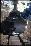 Head-on view of RGS #455 with pilot plow westbound between Pandora and Telluride at about MP 47.<br /> RGS  Pandora, CO  Taken by August, Irving - 4/15/1949<br /> Thanks to Don Bergman for additional information.