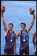 Sydney, AUSTRALIA, USA M2- Silver Medalist, .Bow, Edward MURPHY and Sebastian BEA, 2000 Olympic Regatta, West Lakes Penrith. NSW.  [Mandatory Credit. Peter Spurrier/Intersport Images] Sydney International Regatta Centre (SIRC) 2000 Olympic Rowing Regatta00085138.tif
