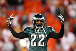 Philadelphia Eagles cornerback Asante Samuel #22 reacts during warms upd before the NFL game between the Philadelphia Eagles and the Washington Redskins on October 26th 2009. The Eagles won 27-17 at FedEx Field in Landover, Maryland. (Photo By Brian Garfinkel)