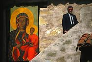 Pope John Paul II made his historic tour to the United States, September 10-18, 1987, visiting Miami, Florida; Columbia, SC; New Orleans, LA; San Antonio, TX, Phoenix, AZ, Los Angeles, CA; Monterrey, CA, San Francisco, CA, and Detroit, MI. <br /> <br /> Secret Service agent at the Carmel, CA mission.