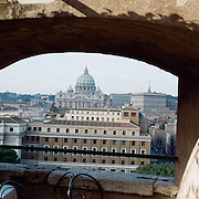 A panoramic view of Saint Peter's Basilica and The Vatican. Rome, Italy. 23rd July 2011. Photo Tim Clayton