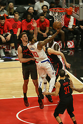 December 17, 2018 - Los Angeles, CA, U.S. - LOS ANGELES, CA - DECEMBER 17: Los Angeles Clippers Forward Mike Scott (30) going for a layup in the lane during the Portland Trail Blazers at Los Angeles Clippers NBA game on December 17, 2018 at Staples Center in Los Angeles, CA.. (Photo by Jevone Moore/Icon Sportswire) (Credit Image: © Jevone Moore/Icon SMI via ZUMA Press)