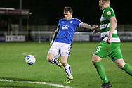 Andy Cook (Tranmere Rovers) gets a shot in on target during the Vanarama National League match between North Ferriby United and Tranmere Rovers at Eon Visual Media Stadium, North Ferriby, United Kingdom on 21 March 2017. Photo by Mark P Doherty.