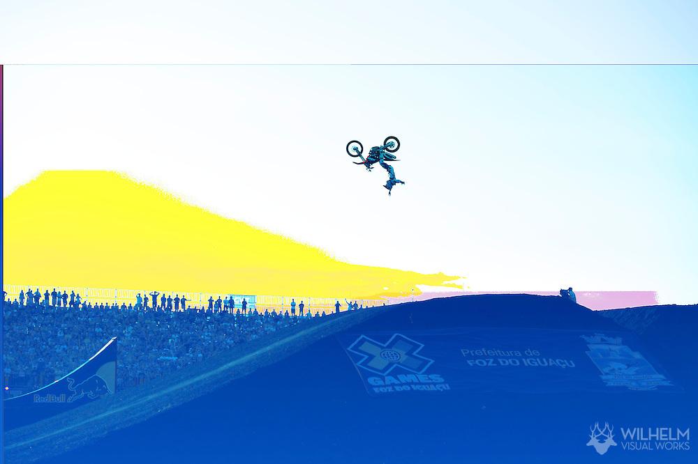 Mat Rebeaud during Moto X Freestyle Finals at the 2013 X Games Foz do Iguacu in Foz do Iguaçu, Brazil. ©Brett Wilhelm/ESPN