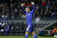 Eden Hazard of Chelsea celebrates after scoring his sides 4th goal from a penalty. The Emirates FA cup, 4th round match, MK Dons v Chelsea at the Stadium MK in Milton Keynes on Sunday 31st January 2016.<br /> pic by John Patrick Fletcher, Andrew Orchard sports photography.