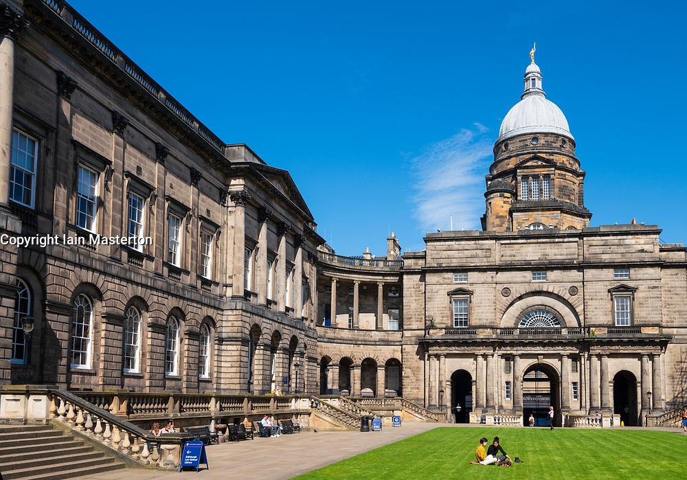 View of courtyard at Old College at University of Edinburgh, Scotland, Uk
