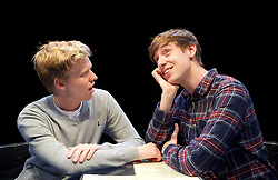 Positive<br /> by Shaun Kitchener <br /> at Park Theatre, Park 90, Finsbury Park, London , Great Britain <br /> 8th July 2015 <br /> press photocall<br /> <br /> directed by Harry Burton <br /> <br /> Timothy George as Benji <br /> Shaun Kitchener <br /> <br /> <br /> Photograph by Elliott Franks <br /> Image licensed to Elliott Franks Photography Services