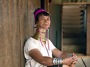 Portrait of a Kayan Padaung ethnic minority woman on 26th March 2016 in Kayah State, Myanmar. Myanmar is one of the most ethnically diverse countries in Southeast Asia with 135 different indigenous ethnic groups. There are over a dozen ethnic Karenni subgroups in the region including the Kayan who are perhaps the best known due to the traditional practice of the Kayan women extending their necks with brass rings