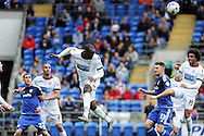 Bolton's Emile Heskey heads clear. Skybet football league championship match, Cardiff city v Bolton Wanderers at the Cardiff city Stadium in Cardiff, South Wales on Saturday 23rd April 2016.<br /> pic by Carl Robertson, Andrew Orchard sports photography.