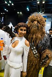 Dubai, April 4th 2014; Princess Leia and Chewbakka at the 2014 Middle East Film and Comic Con at World Trade Centre in Dubai United Arab Emirates