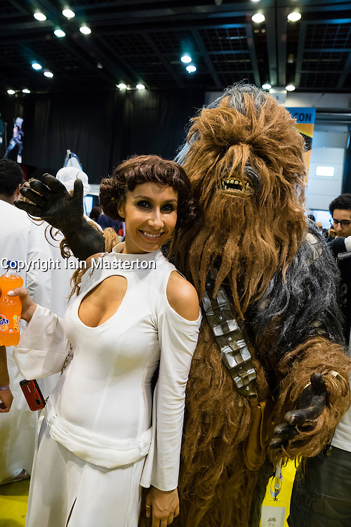 Dubai, April 4th 2014; Princess Leia and Chewbakka at the 2014 Middle East Film and Comic Con at World Trade Centre in Dubai United Arab Emirates