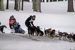 Second and first place finishers Jean-Rene Saucier and Rejean Therrien untangle their teams as they they came together in opposite directions in a turn on the final day of the World Championship Sled Dog Derby on Sunday February 16, 2020.(Alan MacRae for the Laconia Daily Sun)