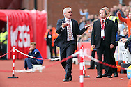 Stoke City Manager Mark Hughes shows his frustration as he complains about being sent off to the stands for the remainder of the game. Premier league match, Stoke City v Tottenham Hotspur at the Bet365 Stadium in Stoke on Trent, Staffs on Saturday 10th September 2016.<br /> pic by Chris Stading, Andrew Orchard sports photography.