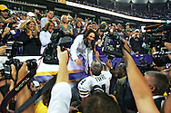 (2007)-Green Bay Packers' Brett Favre meets his wife Deanna Favre after the Packers beat the Vikings 23-16..The Green Bay Packers traveled to the Metrodome in Minneapolis to play the Vikings Sunday September 30, 2007. Steve Apps-State Journal.
