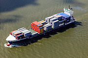 Nederland, Zuid-Holland, Rotterdam, 09-05-2013;<br /> containerschip Bernhard Schepers op de Nieuwe Maas.<br /> QQQ<br /> luchtfoto (toeslag op standard tarieven)<br /> aerial photo (additional fee required)<br /> copyright foto/photo Siebe Swart