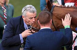 Owner Michael O'Leary kisses Balko Des Flos after winning the Ryanair Steeple Chase during St Patrick's Thursday of the 2018 Cheltenham Festival at Cheltenham Racecourse.