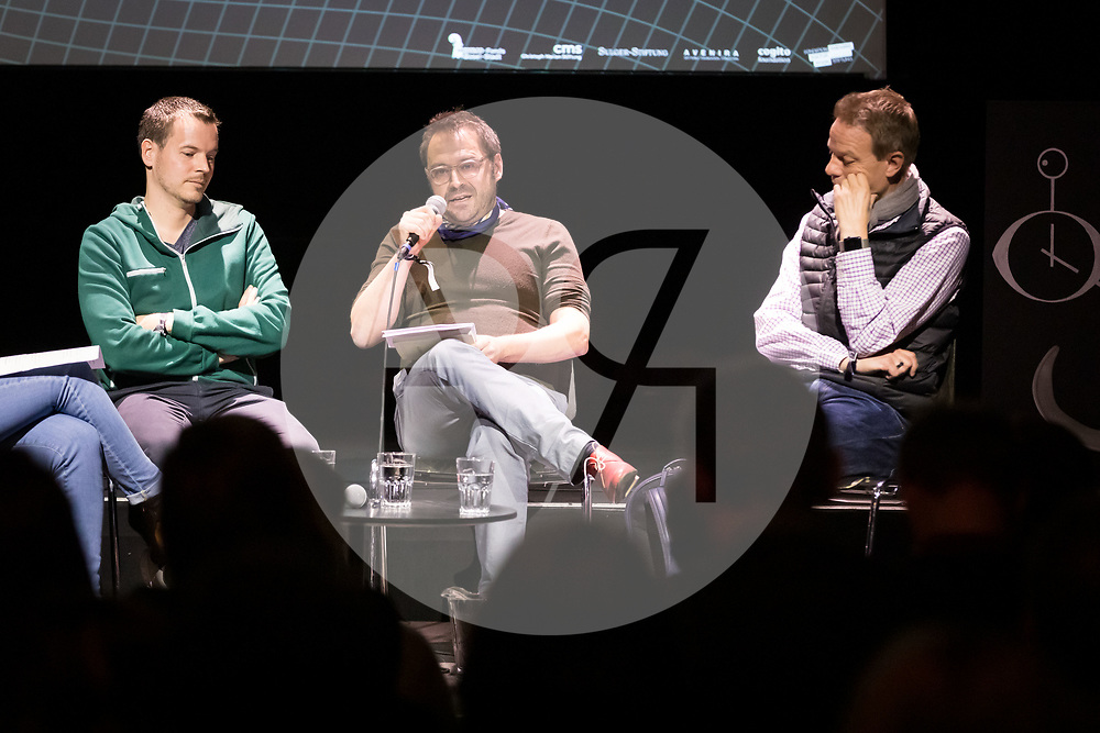 SCHWEIZ - BASEL - 'Kurzfilmtalk' mit L-R Dirk Koy, Matthias Wittmann und Timm Delfs am Festival science+fiction: Zeit - 04. Mai 2019 © s+f/Raphael Hünerfauth - http://huenerfauth.ch