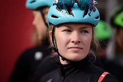 Lucy Shaw at the 127 km Omloop van het Hageland on February 26th 2017, starting and finishing in Tielt Winge, Belgium. (Photo by Sean Robinson/Velofocus)
