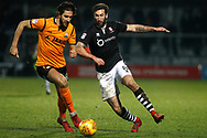 Dan Sweeney of Barnet (L) in action with Ollie Palmer of Lincoln City (R). EFL Skybet Football League two match, Barnet v Lincoln City at the Hive in London on Saturday 20th January 2018. <br /> pic by Steffan Bowen, Andrew Orchard sports photography.