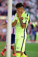 FC Barcelona´s Neymar da Silva regrets his performance during 2014-15 La Liga match between Atletico de Madrid and FC Barcelona at Vicente Calderon stadium in Madrid, Spain. May 17, 2015. (ALTERPHOTOS/Luis Fernandez)