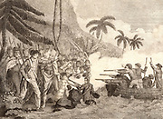 James Cook (1728-1779) English navigator, hydrographer and explorer stabbed to death by Hawaiian natives while investigating the theft of a boat, 14 February 1779. Engraving from 'Captain Cook's Original Voyages Round the World' (Woodbridge, c1815).